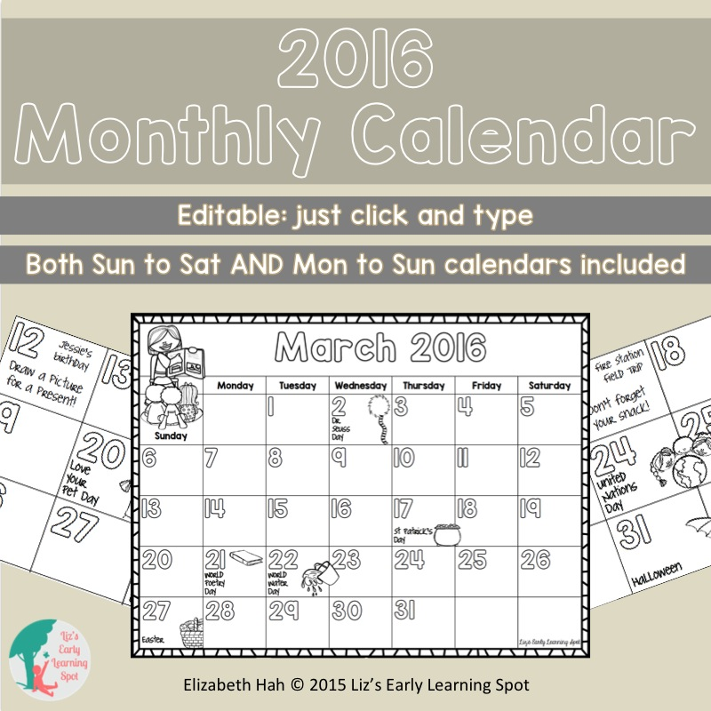 Editable monthly calendars are excellent for adding special events and reminders for kids and parents!
