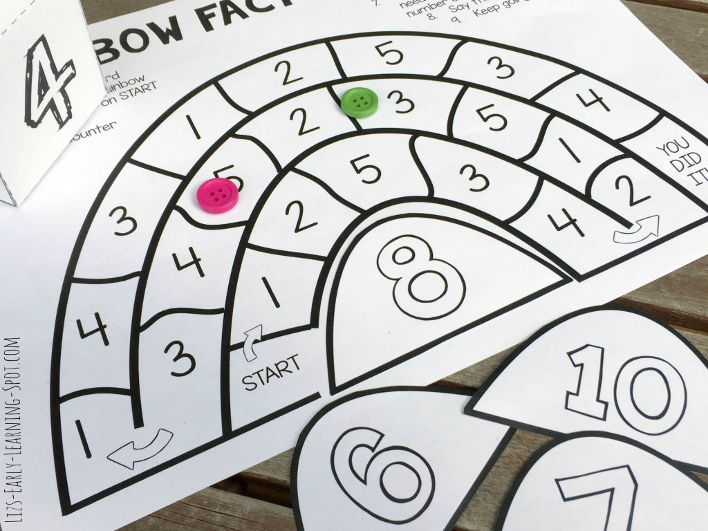 Differentiate easily to practice addition, subtraction, doubling and more with these FREE rainbow fact families board games.