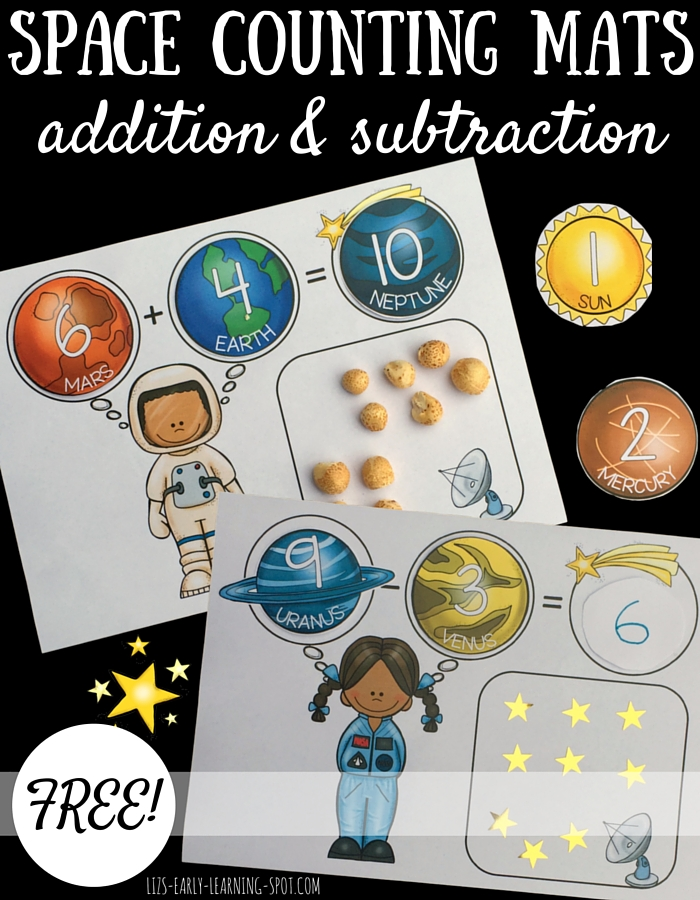 Addition and subtraction is a bit more fun with these free space counting mats!