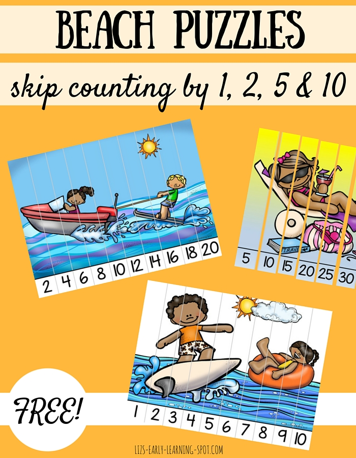 These free skip counting beach puzzles are a fun way to consolidate counting by 1s, 2s, 5s and 10s!