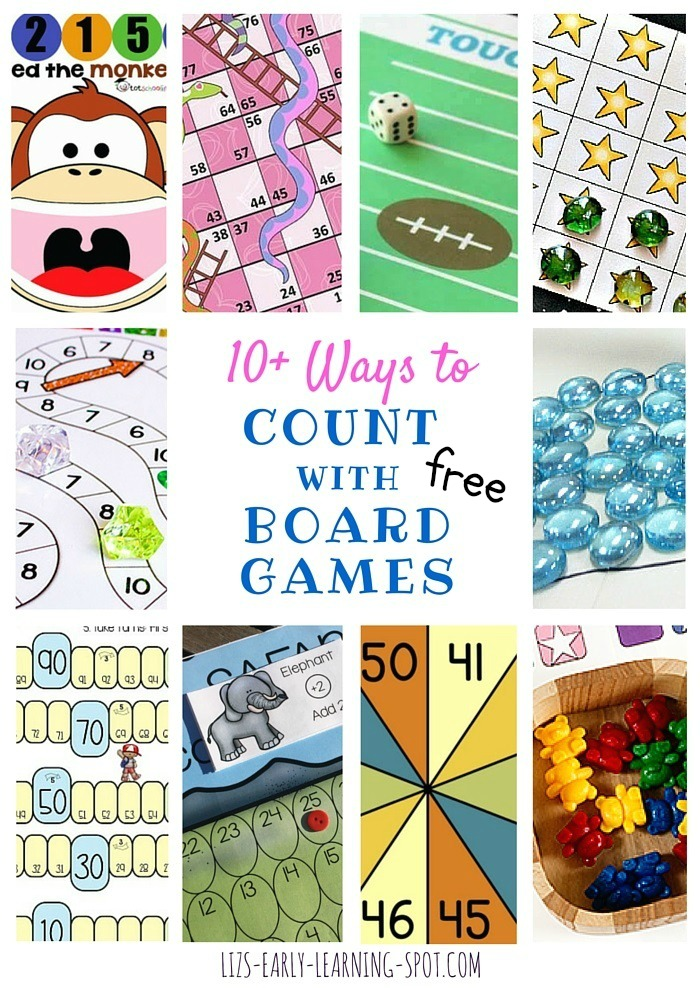 Board games are a great way to engage kids with counting over and over... and they're free!
