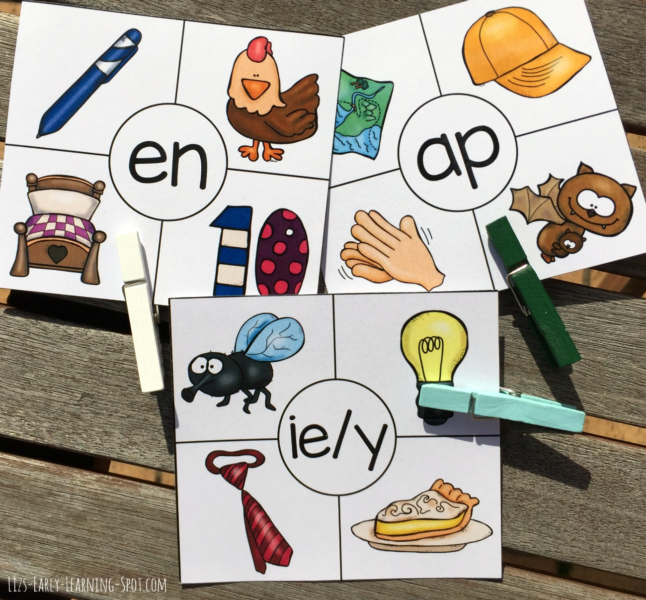 Word Family Rhyming Clip Cards