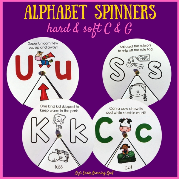 These alphabet spinners with 3 letter words are a great resource for kids to practice letter recognition, beginning sounds and beginning reading!