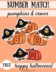 Halloween Number Match with Pumpkins and Crows