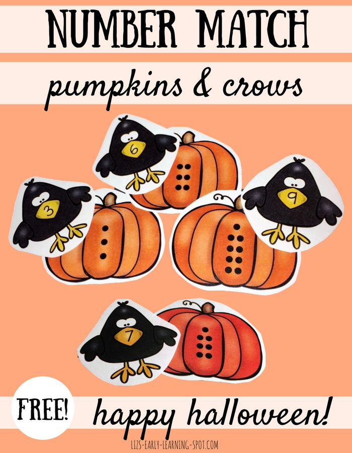 This Halloween and Thanksgiving practice matching numbers 0-10 with these cute (free) pumpkins and crows!