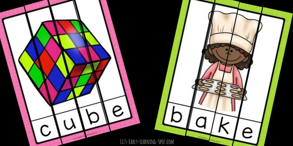 Create the pictures to practice Magic E long vowel words with these free puzzles!