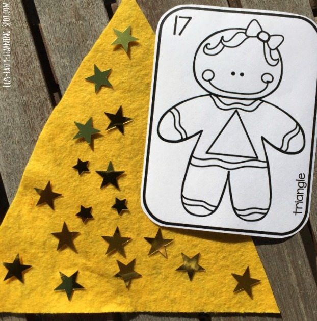Practice counting with these free gingerbread 2D shape match and count cards.