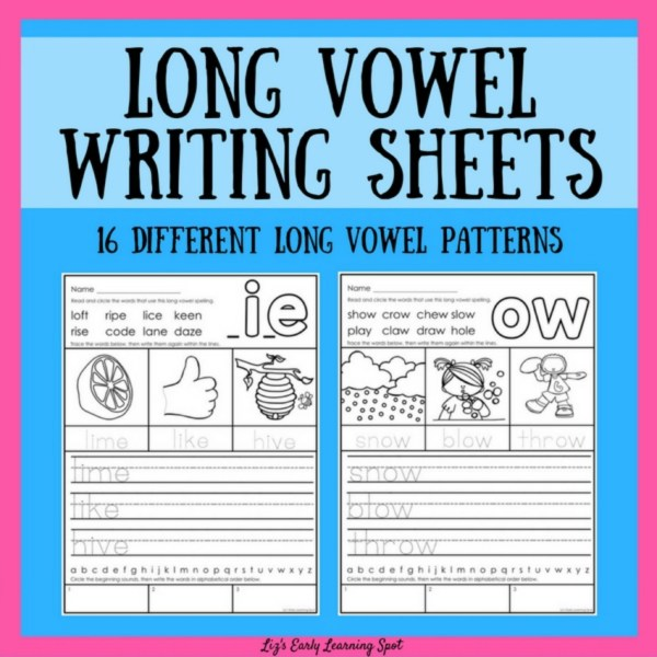 50 pages of long vowel writing activities covering 16 different long vowel spellings!