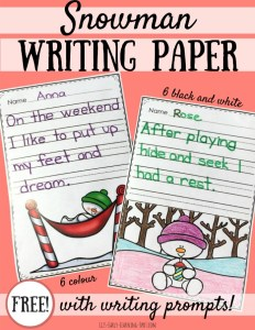 Snowman Writing Paper with Prompts