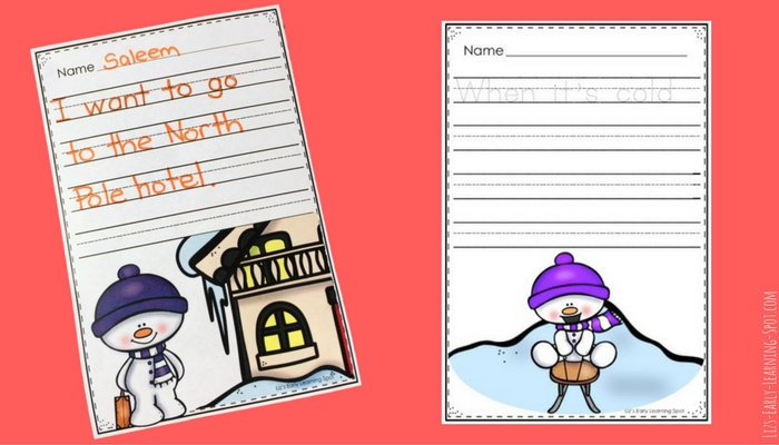 Here's some inspiration for winter writing! Free snowman writing paper with prompts.