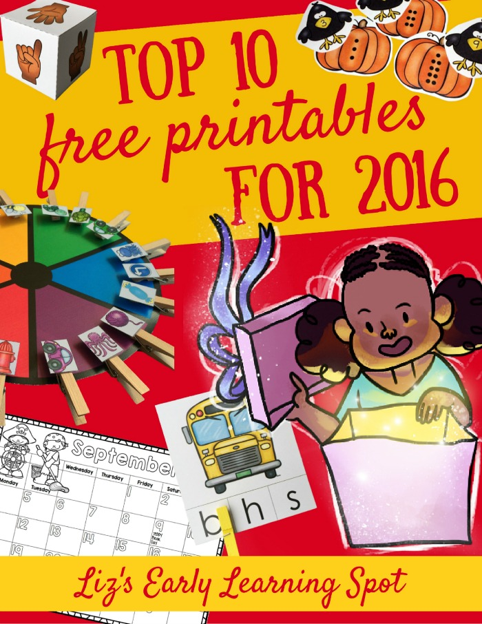 Grab the top 10 free printables published by Liz's Early Learning Spot during 2016!