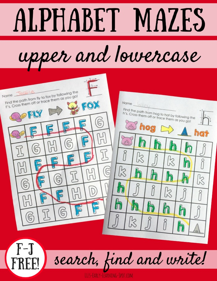 Alphabet Mazes: Uppercase and Lowercase