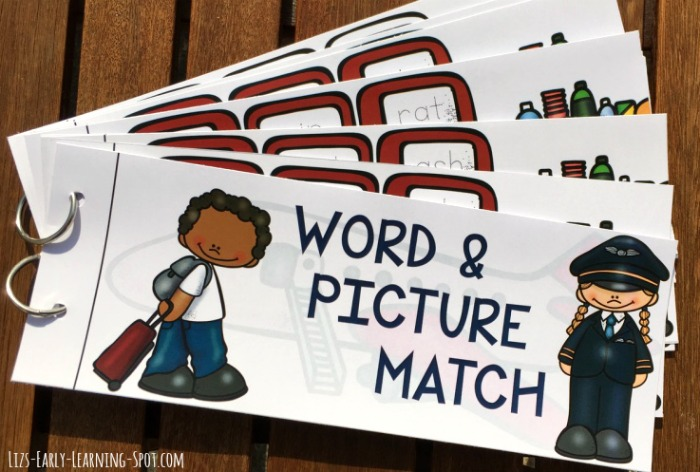 Put together a free flip book for matching words and pictures!