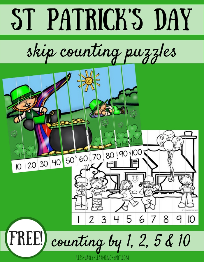 Grab these free St Patrick's Day skip counting puzzles and get practice counting by 1s, 2s, 5s and 10s!