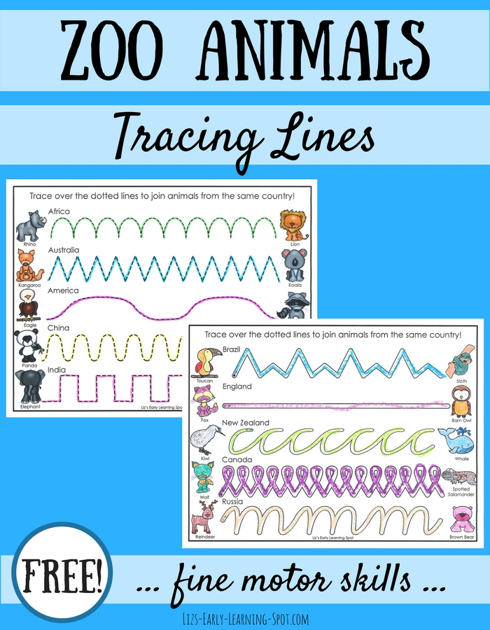 Practice tracing lines while chatting about zoo animals from different countries with these free pages!