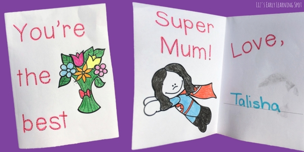 Here are some free, quick and easy Mother's Day cards for your early writers to make!