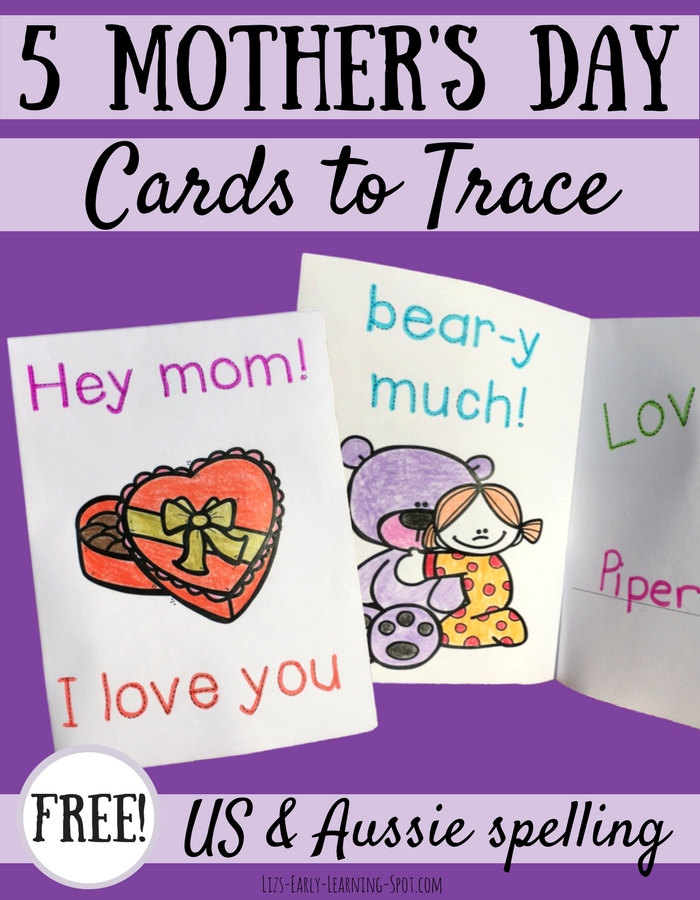 Practice tracing letters with these free Mother's Day cards!