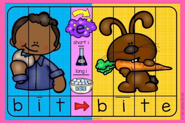 These free CVC to Magic E word and picture puzzles really help kids how adding an e changes the middle vowel sound!