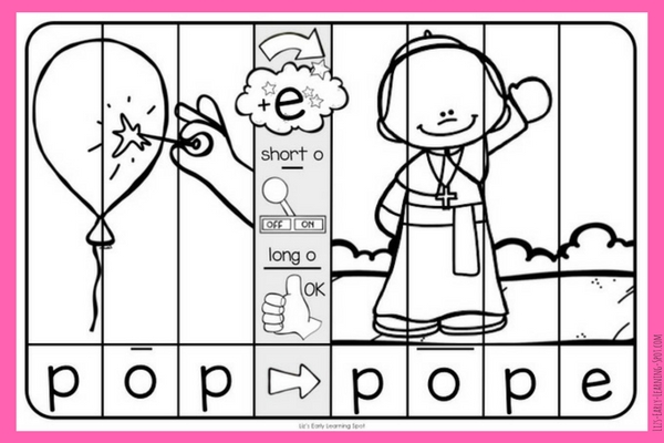 Practice the difference between CVC and Magic E words with these free picture puzzles!