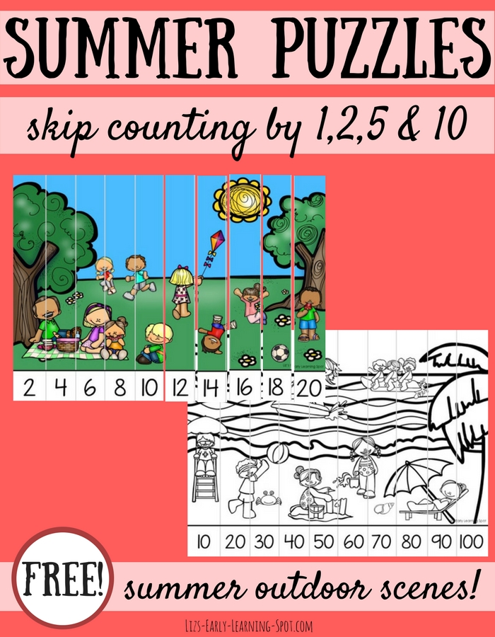 These free summer skip counting puzzles are an easy way to reinforce important math concepts!