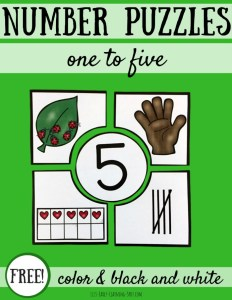 Free Counting Number Puzzles for 1 to 5