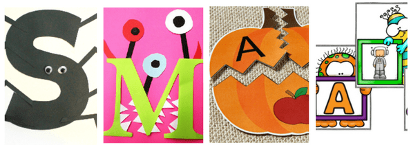 You'll find 16 free alphabet activities for Halloween on this post!