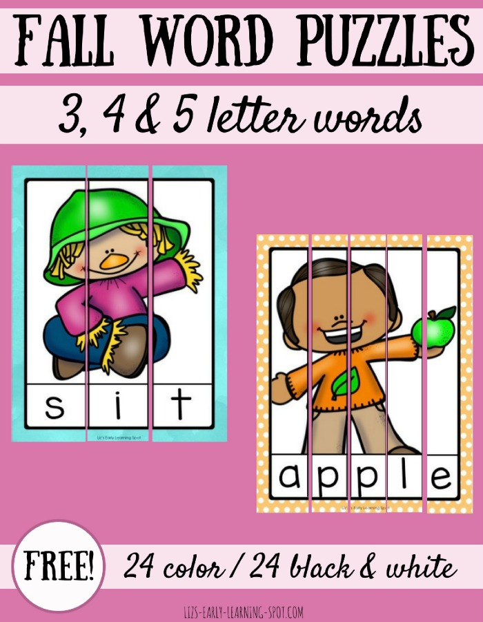Free fall word puzzles in both colour and black and white!