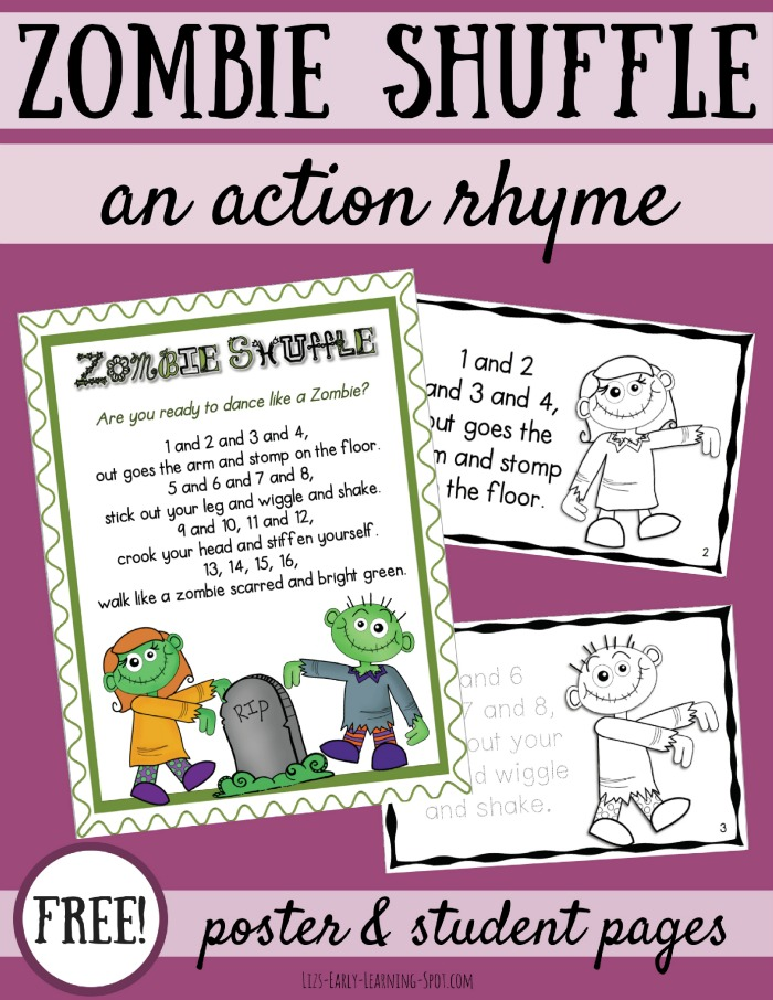 Get your kids stomping and shaking with this free Zombie Shuffle action rhyme for Halloween!