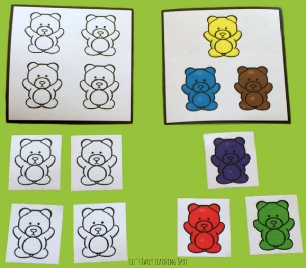 These free counting bears can be used to practice 1 to 1 correspondence as well as addition within 10!