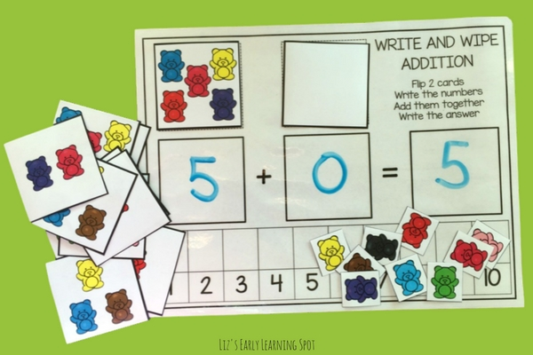 Grab this free write and wipe addition counting bear activity!