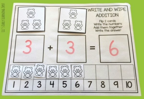 Practice addition within ten with this free write and wipe addition and counting mat!