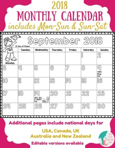 Free 2018 Monthly Calendars for Kids