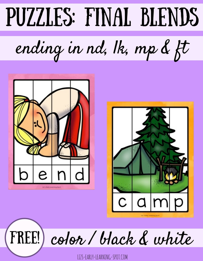 Practice reading final blends with these free CVCC word puzzles!