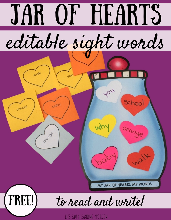 Practice reading and writing with this free, editable sight words (or other words) activity for Valentines!