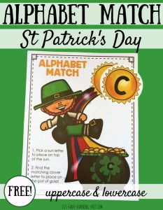 Uppercase and Lowercase Letters Match: St Patrick's Day