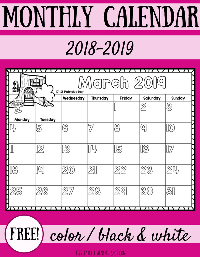 Free 2018 2019 Monthly Calendars For Kids Liz S Early Learning Spot