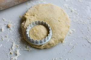 Buttermilk scone mixture being cut into shapes