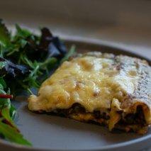Slice of homemade lasagne