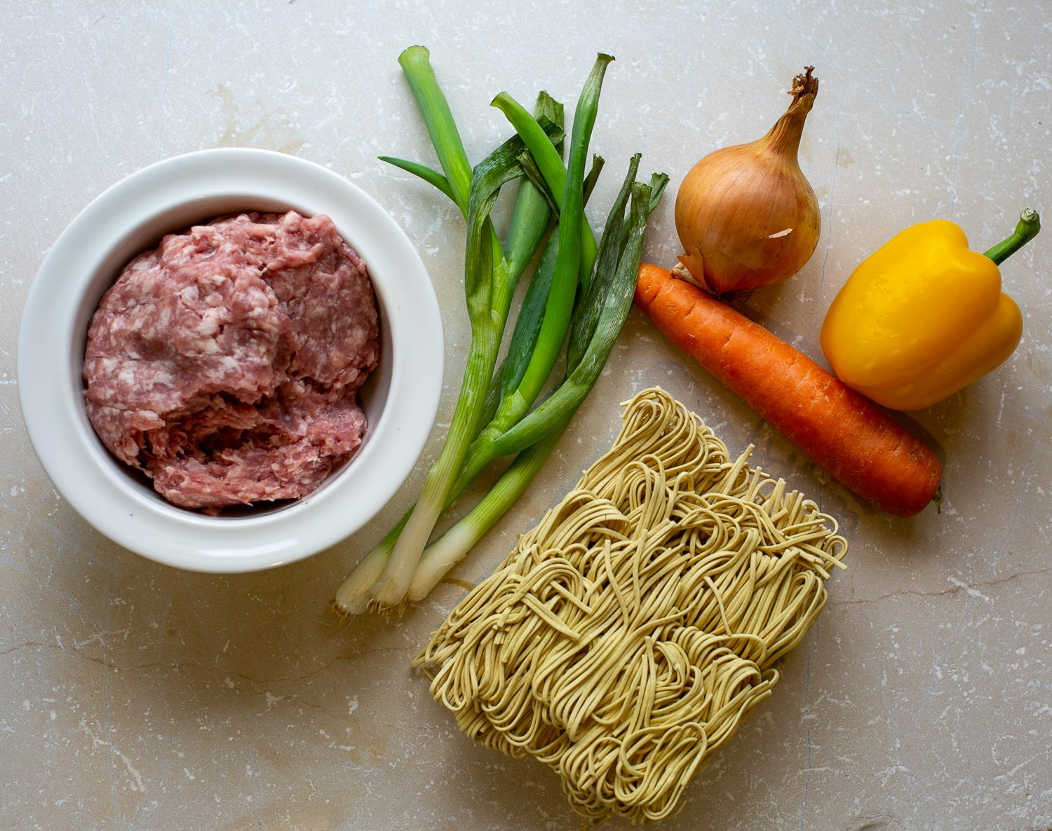 ingredients for Chilli Pork Noodles with Peanut Sauce