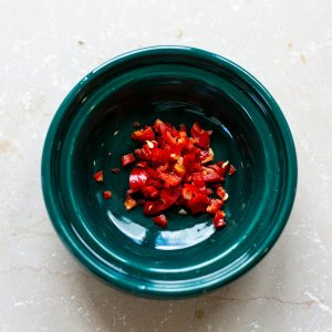 bowl of finely chopped chilli