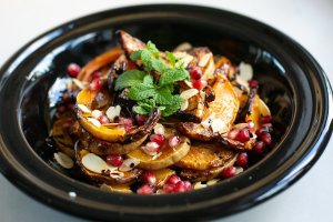 roasted squash with pomegranate and almonds with fresh mint