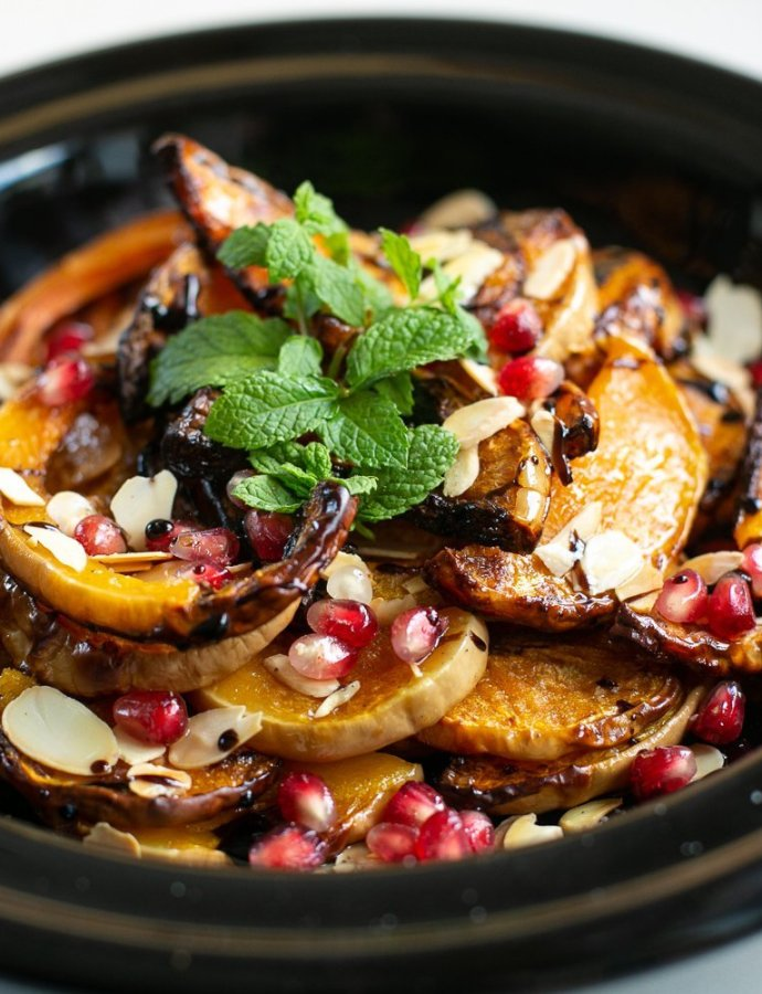Roasted Squash with Pomegranate and Almonds
