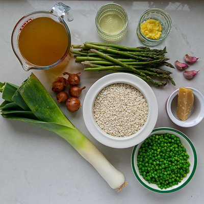 All the ingredients for asparagus pea and leek risotto