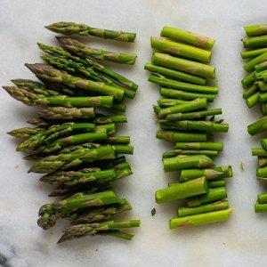 chopped asparagus for asparagus pea and leek risotto