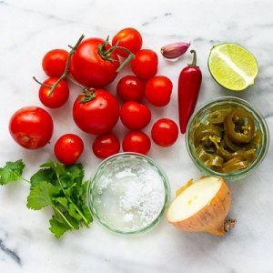 The ingredients for homemade Salsa dip