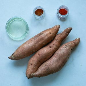 All the ingredients needed to make paprika spiced sweet potato fries