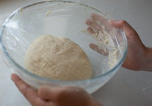 maneesh bread dough proving in a bowl