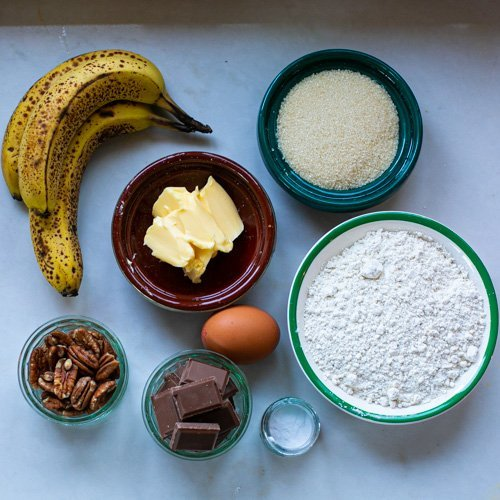 all the ingredients needed to make chocolate pecan banana bread