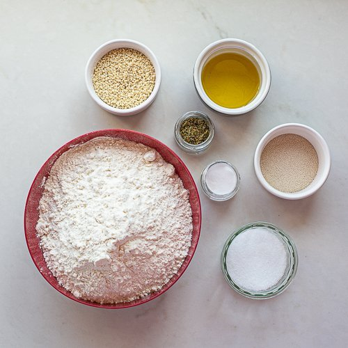 all the ingredients needed to make maneesh bread
