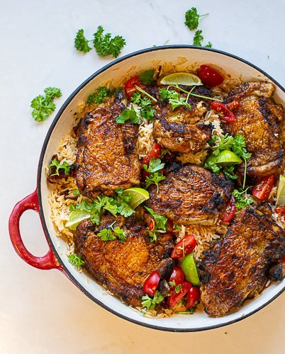 special chicken in a dish with special rice